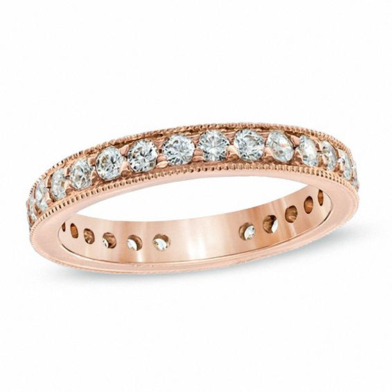 1 CT T W Diamond Vintage Style Eternity Wedding Band in 14K Rose Gold I I1