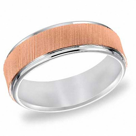 Mens 7.0mm Wedding Band in 14K Two-Tone Gold