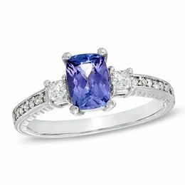 Cushion-Cut Tanzanite and 1/4 CT. T.W. Diamond Engagement Ring in 14K White Gold