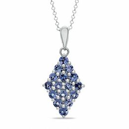 Tanzanite Kite-Shaped Pendant in Sterling Silver