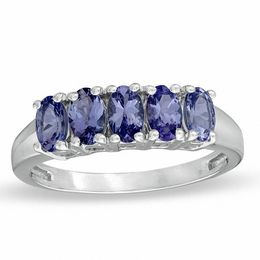 Oval Tanzanite Five Stone Ring in Sterling Silver