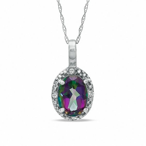 Oval Mystic Fire(R) Topaz and Diamond Accent Pendant in 10K White Gold at Gordons V-19604156