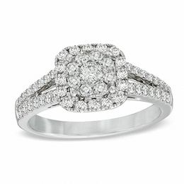3/4 CT. T.W. Diamond Cluster Split Shank Engagement Ring in 14K White Gold