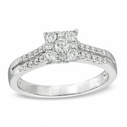 1/2 CT. T.W. Diamond Square Cluster Engagement Ring in 14K White Gold