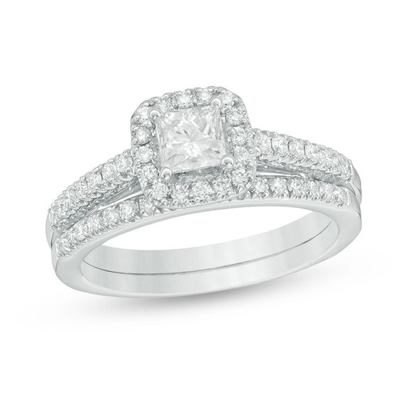 1 CT T W Princess Cut Diamond Frame Bridal Set in 14K White Gold