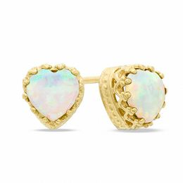 6.0mm Heart-Shaped Lab-Created Opal Crown Earrings in Sterling Silver with 14K Gold Plate