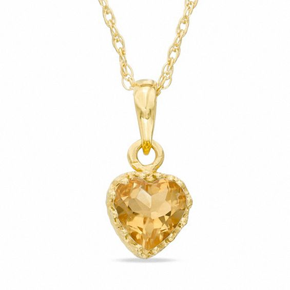 6.0mm Heart-Shaped Citrine Crown Pendant in Sterling Silver with