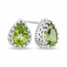 Pear-Shaped Peridot Crown Earrings in Sterling Silver