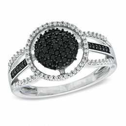 1/2 CT. T.W. Enhanced Black and White Diamond Frame Cluster Ring in 10K White Gold