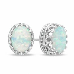 Oval Lab-Created Opal Crown Earrings in Sterling Silver