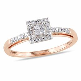 1/5 CT. T.W. Quad Princess-Cut Diamond Square Frame Engagement Ring in 10K Rose Gold