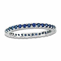 Blue Sapphire Eternity Wedding Band in 14K White Gold