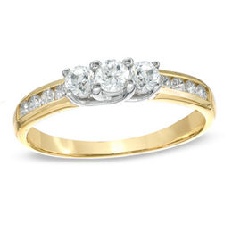 1/2 CT. T.W. Diamond Three Stone Engagement Ring in 10K Gold