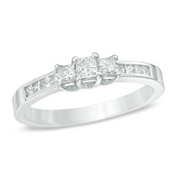 1/2 CT. T.W. Princess-Cut Diamond Three Stone Engagement Ring in 10K White Gold
