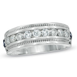 Vera Wang Love Collection Men's 1 CT. T.W. Diamond and Blue Sapphire Wedding Band in 14K White Gold