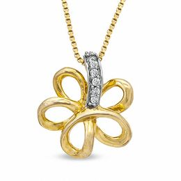 Diamond Accent Flower Pendant in Sterling Silver and 14K Gold Plate
