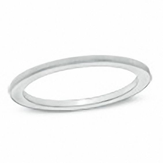 Ladies 1.0mm Coin-Edge Wedding Band in 14K White Gold