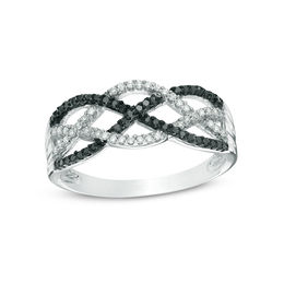 1/5 CT. T.W. Enhanced Black and White Diamond Loose Braid Ring in Sterling Silver - Size 7