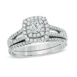 3/4 CT. T.W. Diamond Double Frame Bridal Set in 14K White Gold
