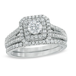 Celebration Grand® 1 CT. T.W. Diamond Double Frame Bridal Set in 14K White Gold (H-I/I1)