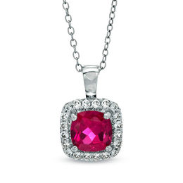 7.0mm Cushion-Cut Lab-Created Ruby and White Sapphire Frame Pendant in Sterling Silver