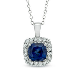 7.0mm Cushion-Cut Lab-Created Blue and White Sapphire Pendant in Sterling Silver