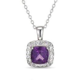 7.0mm Cushion-Cut Amethyst and Lab-Created White Sapphire Frame Pendant in Sterling Silver