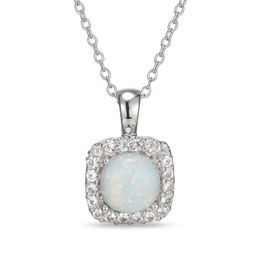 7.0mm Cushion-Cut Lab-Created Opal and White Sapphire Frame Pendant in Sterling Silver