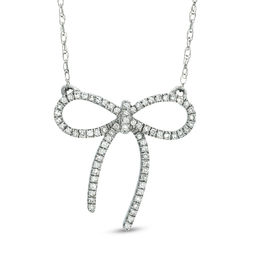 1/10 CT. T.W. Diamond Bow Necklace in Sterling Silver