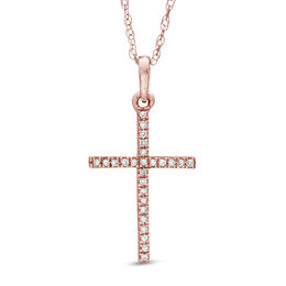 Diamond Accent Cross Pendant in 10K Rose Gold