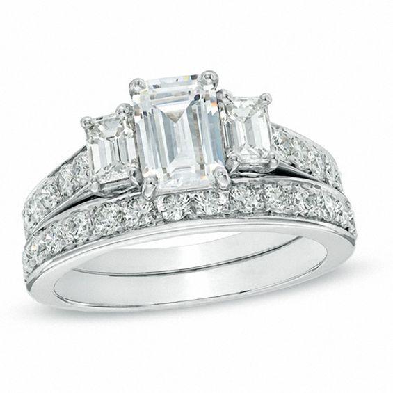 T W Certified Emerald Cut Diamond Three Stone Bridal