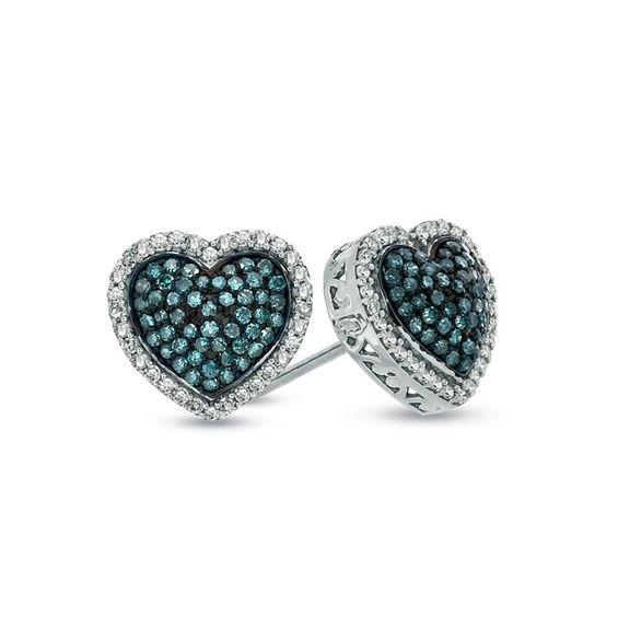 T W Enhanced Blue And White Diamond Heart Stud Earrings In Sterling
