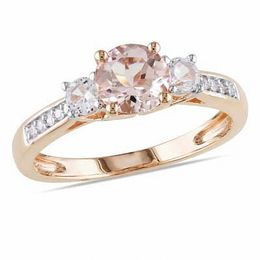 6.0mm Morganite, Lab-Created White Sapphire and Diamond Accent Engagement Ring in 10K Rose Gold