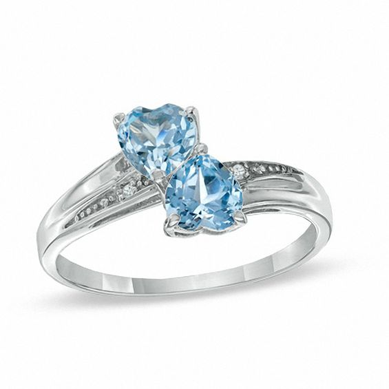 Heart Shaped Lab Created Aquamarine And Diamond Accent