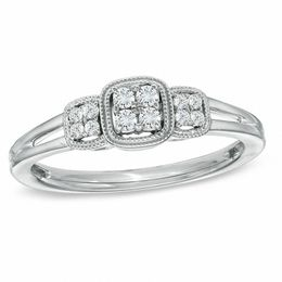 Cherished Promise Collection™ 1/8 CT. T.W. Diamond Three Stone Cluster Ring in Sterling Silver - Size 6