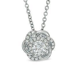 Vera Wang Love Collection 5/8 CT. T.W. Diamond Swirl Flower Pendant in 14K White Gold