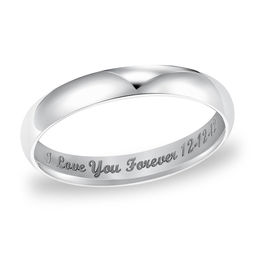 Ladies' 3.0mm Engraved Low Dome Wedding Band in 14K White Gold (25 Characters)