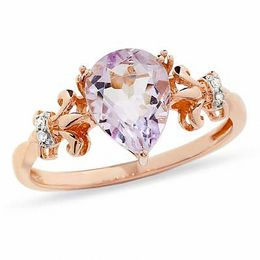 Pear-Shaped Rose de France Amethyst and Diamond Accent Ring in 10K Rose Gold
