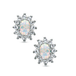 Oval Lab-Created Opal and White Topaz Stud Earrings in Sterling Silver