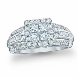 1 CT. T.W. Quad Princess-Cut Diamond Engagement Ring in 10K White Gold