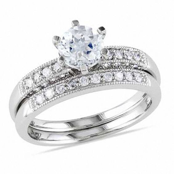 6 0mm Aquamarine And 1 3 Ct T W Diamond Bridal Set In