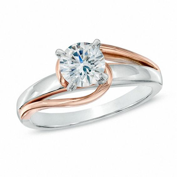 1 2 Ct Diamond Solitaire Swirl Engagement Ring In 14k Two