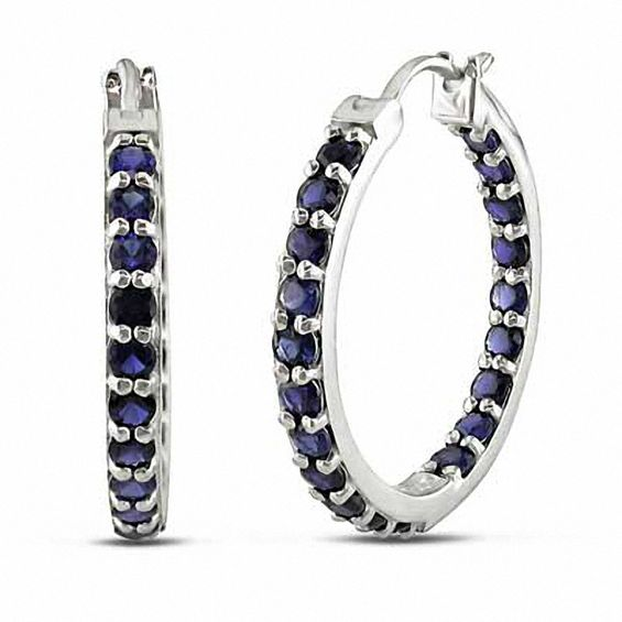 Lab Created Blue Sapphire Inside Out Hoop Earrings In