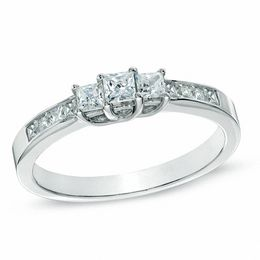 1 CT. T.W. Princess-Cut Diamond Three Stone Engagement Ring in 10K White Gold