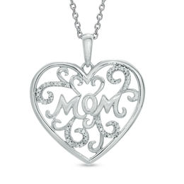"Diamond Accent ""MOM"" Scroll Heart Pendant in Sterling Silver"