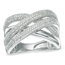 1/4 CT. T.W. Diamond Layered Crossover Ring in Sterling Silver - Size 7