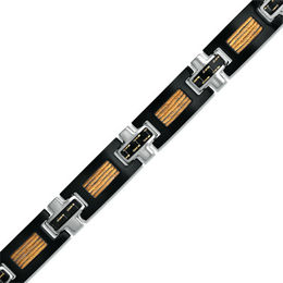 Men's Shaquille O'Neal Carbon Fiber and Cable Bracelet in Tri-Tone Stainless Steel - 8.5""