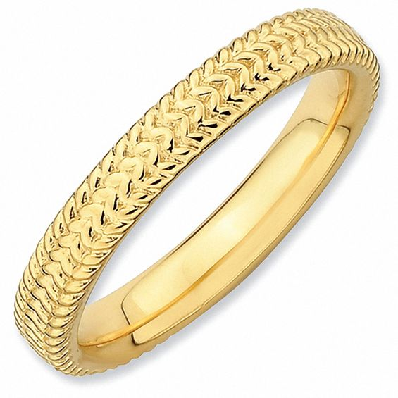 "Stackable Expressionsâ""¢ 3.0mm Cable Ring in Sterling Silver and 18K Gold Plate"