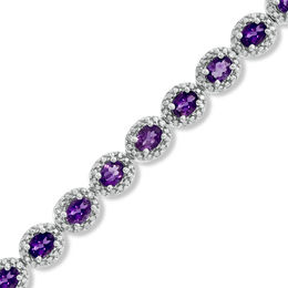 Oval Amethyst and Diamond Accent Bracelet in Sterling Silver - 7.5""