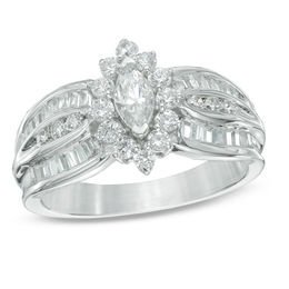 1 CT. T.W. Marquise Diamond Frame Engagement Ring in 10K White Gold